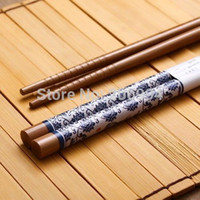 bamboo n - Pack of Pairs blue n white porcelain painting Bamboo Cutlery Chopsticks Chinese pair