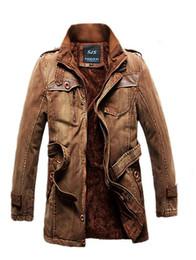 Wholesale New Style Denim Fleece Warm Casual Jacket Over Coats for Boy Men Military Wind Coat Winter Outwear M XXXL