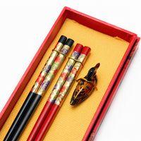 beijing china - Chinese chopsticks set Luxury gift box chopsticks wood business gift carving Beijing Opera China J37