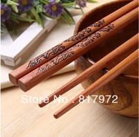 bamboo cutlery set - Pairs carved black dragon stylish cutlery bamboo wood hairstick chopsticks set set Pairs Tableware Chopsticks