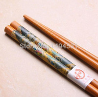 bamboo symbols - Pairs Bamboo Cutlery Oil Painting Symbols Of Eternity Chopsticks Quality Charm Characteristics Gift