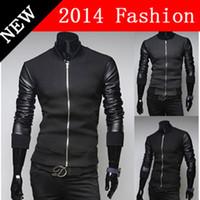 Wholesale NEW Winter Fashion Men PU Leather Patchwork Jacket Long Sleeve Cardigans Jackets Outdoors Cardigan Warm Casual Coat K
