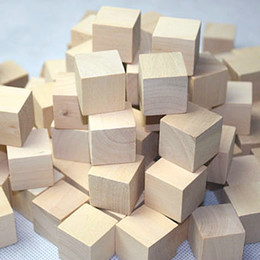 Wholesale Wooden Square Cube Block cm Toys DIY Manual Architectural Building Model Wooden Material L Natural Color Wood Chips