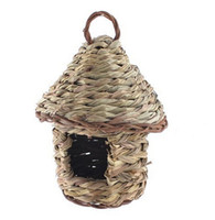 Wholesale Home decor bird nest Handmade straw braid nest Garden Ornament Artificial Woven Wicker Hole Opening Bird Nest House