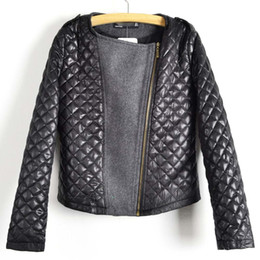 Wholesale-2015 Bestselling Autumn Women's Fashion Cool Long Sleeve Coat Quilted Asymmetric Zip Jacket Black Grey color WF-5342