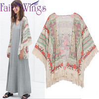 antique kimonos - Women New Tassel Regular Floral New Antique Flower Fringed Shawl Sweater Chiffon Kimono Cardigan Coat Jacket PH2718