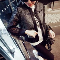 Wholesale Women Jackets Basic New Casual Brand long sleeve outwear coats Hollow out Mesh Casaco Highend Air Layer Zipper Chaquetas mujer