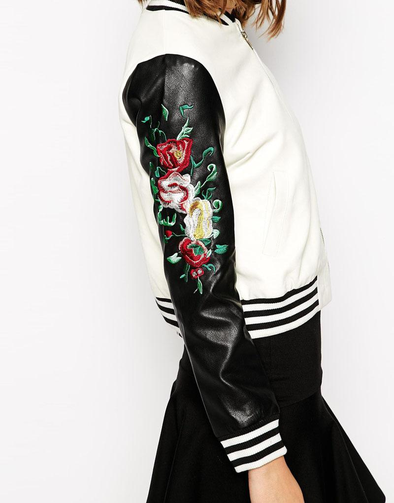 Leather jacket with roses - Wholesale Sky 2015 Women S New Fashion Campus Rose Embroidery Pattern Sleeves Baseball Style Jacket Zipper Pu Leather Jacket