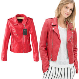 Discount Red Leather Bomber Jacket Women | 2017 Red Leather Bomber ...