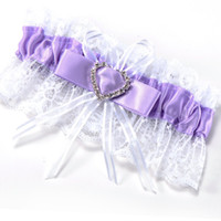 Wholesale SAF Hot Western style wedding supplies bride purple heart shaped diamond lace garter