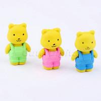 bear eraser - D Cartoon Novelty Bear Suspender Rubber Pencil Eraser School Supplies Stationary for Kids Children Toy Gift