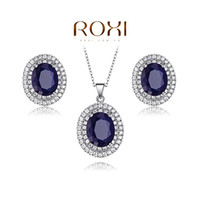 Cheap ROXI Gift Fashion Opals Set 100% Hand Made Fashion Jewelry Ring+Earrings+Necklace Sets Blue Stones Office Lady Accessories