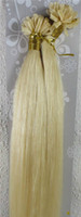Wholesale U Tip Nail Pre Bonded Hair Extensions quot quot White Blonde Color s Gram Person Real Natural Hair No Blended