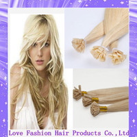 Cheap Wholesale-0.5g strand 100strands pack, 100% brazilian human remy hair extensions flat tip hair #613 light blonde hair extensions