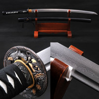 Wholesale Full Handmade Black Japanese Samurai Sword Katana Damascus Folded Steel Blade Practical Sharp