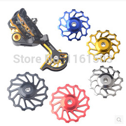 Wholesale MTB Bicycle Bike T T AL ALLOY Rear Derailleur guide pulley steel bearing Jockey Wheel FOR SPEED