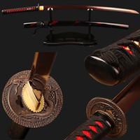 battle sword - Red Damascus Folded Steel Blade Japanese Samurai Katana Practical Sword Sharp Knife Ready for Battle ESB101