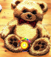 latch hook cushion kit - DIY Mat Needlework Kit Latch Hook Rug Kit Unfinished Crocheting Rug Yarn Cushion Embroidery Carpet Cartoon Bear Picture