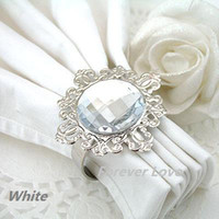 Wholesale 12 set Clear White Gem Napkin Rings Wedding Bridal Shower Favour