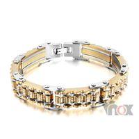 bicycle bracelet id - Gold Plated Stainless Steel Bracelet Men Heavy Wide Biker Bicycle Motorcycle Chain Men s Bracelets Mens Bracelets amp