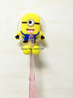 Wholesale Cute minion Cartoon suction cup toothbrush holder suction hooks bathroom set accessories