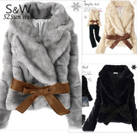 apricot hairs - Hot Sale Fashion Women Faux Fur Coat Rabbit Hair Short Warm Coat Jacket Fluffy Outwear with Belted Black Gray Apricot