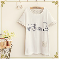 Wholesale Japanese Sen female line in the summer of new women embroidery stitching bat sleeve loose kitten T shirt