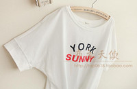 Wholesale Japanese Sen female line in the summer of new women thin letters printed cotton short sleeved T shirt loose Bandwidth