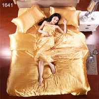 Wholesale Home Textiles Hot Gold Silk Duvet Cover Bed Linen Euro Silk Bedspreads Solid King Size Bedding Set Bedsheet Pillowcase