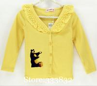 Wholesale spring summer children girl sweaters cotton long sleeve cartoon V neck baby girl sweater children coat y