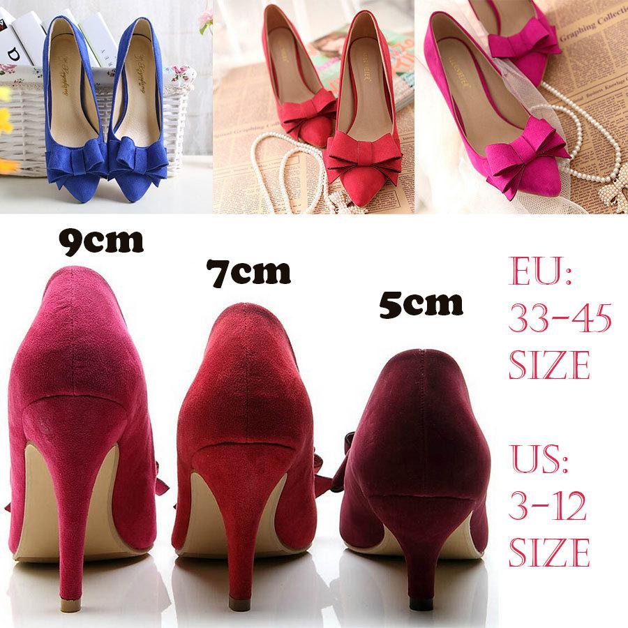 Wholesale Womens Prom Pumps Wine Red Hot Pink Black Suede Bow High