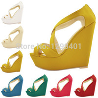 Wholesale NEW ELEGANT LADIES PLATFORM PEEP TOE HIGH HEELS WEDGE SHOES SANDALS SIZE US4