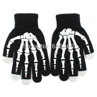 Wholesale Skeleton Touch Screen Gloves Hand Warmer Black Mitten For Smart Phone