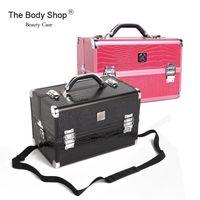 aluminum beauty box - Brand Design Fashion Retro Double Open Beauty Professional Cosmetics Box Large Multi purpose Aluminum Alloy Make up Box