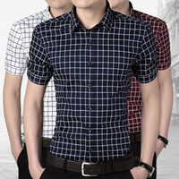 Cheap Wholesale-Mens dress plaid shirts formal male social shirt summer white silk shirts for men shirt short sleeve camisa xadrez masculina 5XL