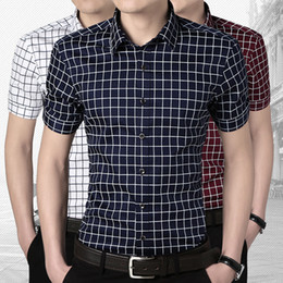Wholesale Mens dress plaid shirts formal male social shirt summer white silk shirts for men shirt short sleeve camisa xadrez masculina XL