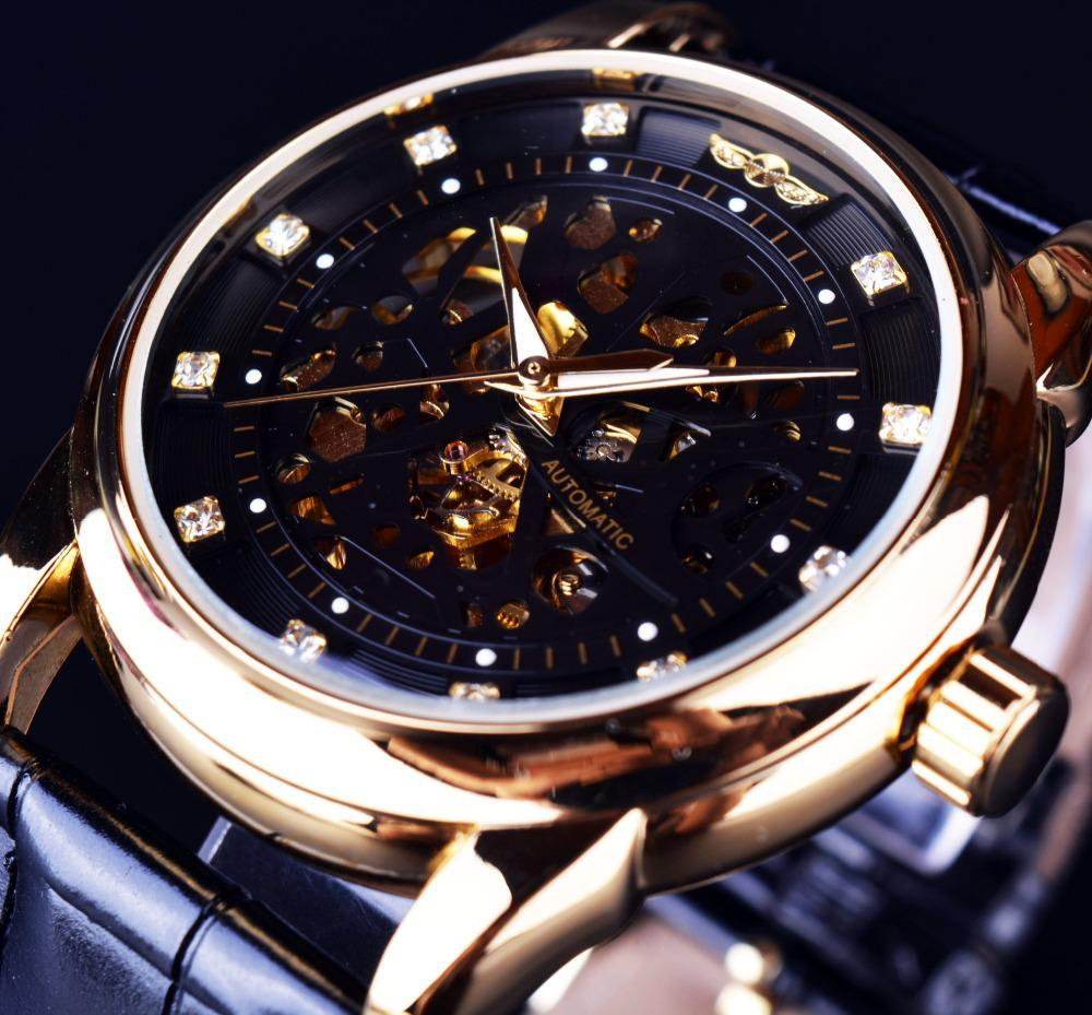 Wrist watches brands for mens - Wholesale Winner Royal Diamond Design Black Gold Watch Montre Homme Mens Watches Top Brand Luxury Relogio Male Skeleton Mechanical Watch Online Wrist Watch