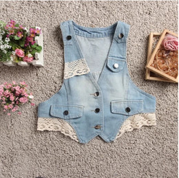 Wholesale Best selling Free fast shipping summer lace cording ladies vest sleeveless women denim vest female jean jacket