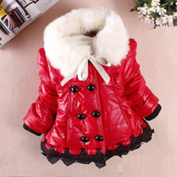 Wholesale winter newborn infant baby girls clothing PU leather cotton jacket coat fashion child kids fur collar outerwear for baby