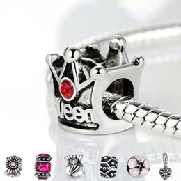 Wholesale Style Authentic Silver Crown Heart Charm Fit Pandora Bracelet Necklace Pendant Original Jewelry Making Accessories
