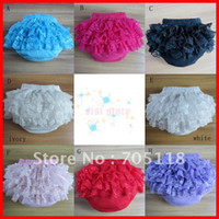 Wholesale pure cotton new ruffle baby lace bloomers infant bloomer napy cover