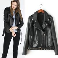 ak color - The European station new season Europe Womens all match quality black belt leather coat G AK
