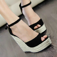 high heel open toe shoes - Women sandals Elegant fashion women s open toe wedges sandals platform velvet platform wedges shoe high heels sandals women