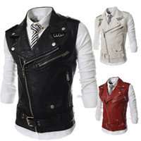 Wholesale Fall New Men s Fashion Leather Vest Jackets Man Sleeveless Motorcycle Tank Tops Spring Autumn zipper decoration Outerwear Coats