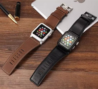 Wholesale Top Quality Protective Aviation Aluminum Case Genuine Leather Cattle Hide Watchband With Metal Clip For mm Apple Watch