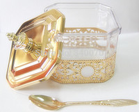 Wholesale Golden swan cutlery set New retro eight Angle iron cover transparent sugar pot total color optional