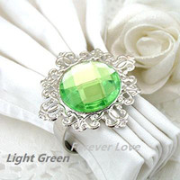 Wholesale 12 set Light Green Gem Napkin Rings Wedding Bridal Shower Favour