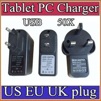 Wholesale 50X EU US UK Plug Universal USB Charger AC Power Adapter for Tablet PC Cellphone V A CQ