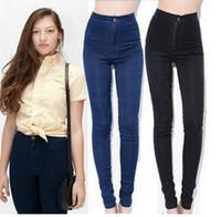 high waist jeans - fashion women vintage American brand jeans woman pencil stretch casual denim skinny jeans pants high waist jeans womens