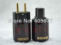 Cheap Wholesale-Hi End Japan Oyaide P-079E+C079 24k Gold-Plated Pure Copper Poles EU Power Plug ac power cord plugs